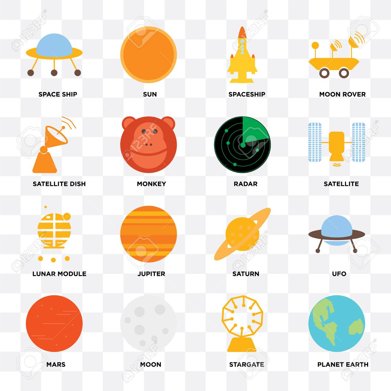 Set Of 16 icons such as Planet earth, Stargate, Moon, Mars, Ufo,