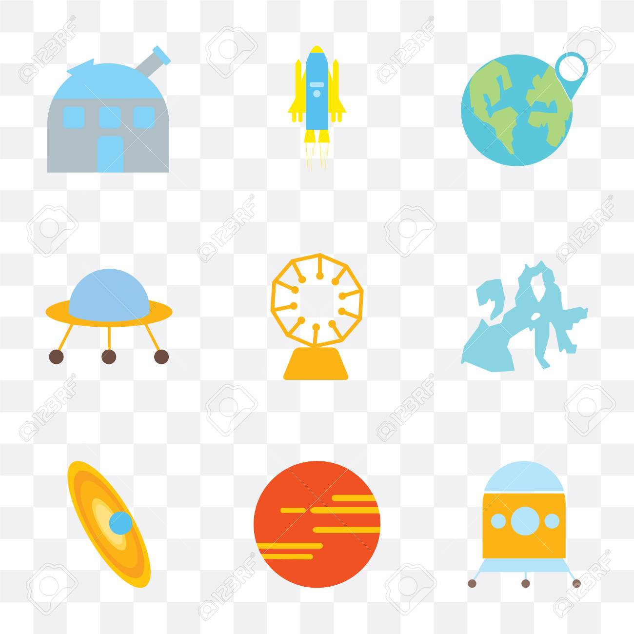 Set Of 9 simple transparency icons such as Space capsule, Mars,