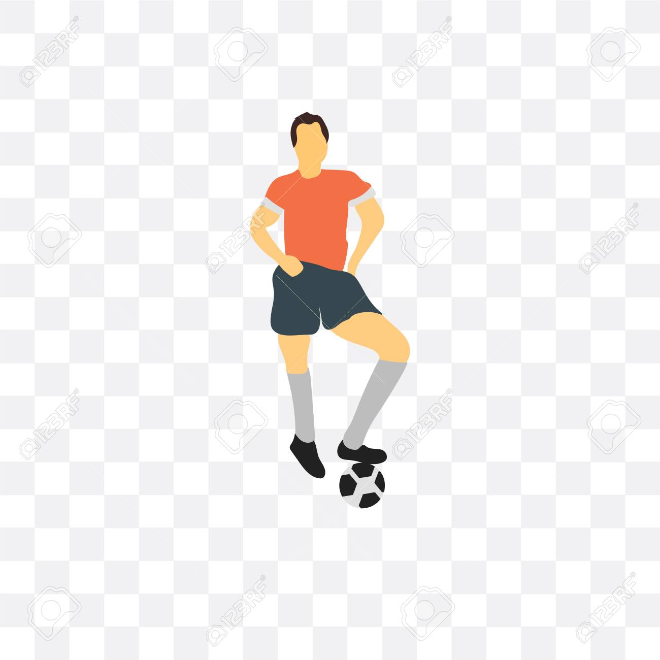 Football Player Vector Icon Isolated On Transparent Background