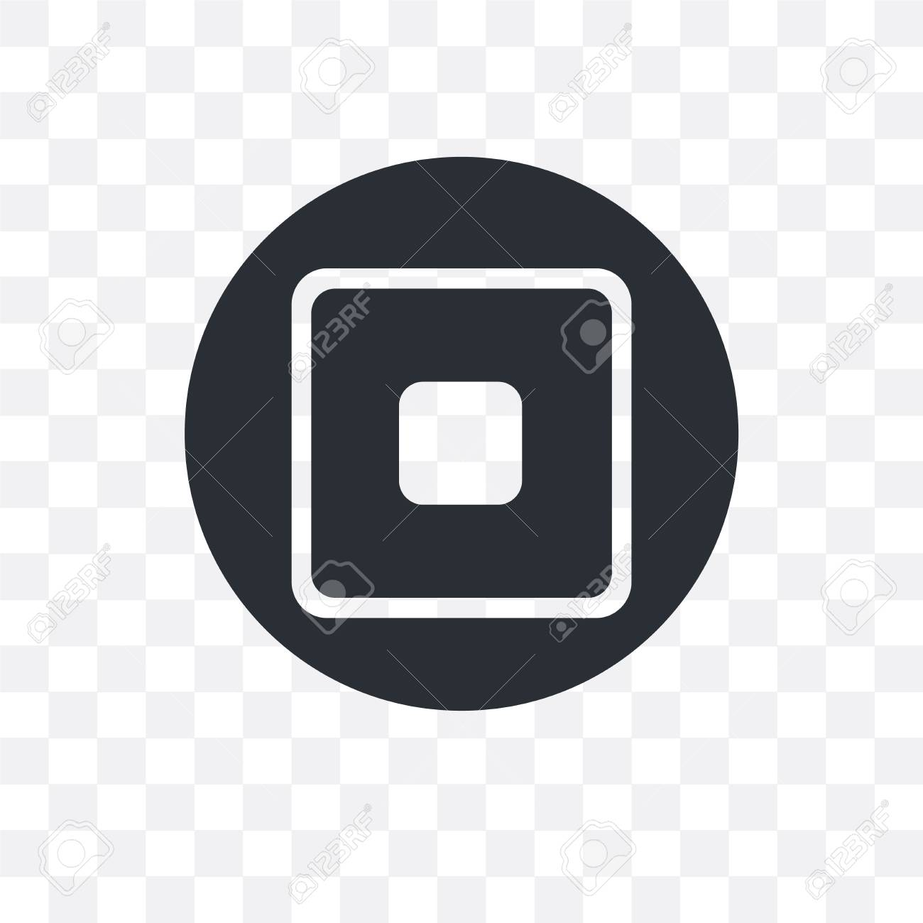 Stop Square Button vector icon isolated on transparent background,