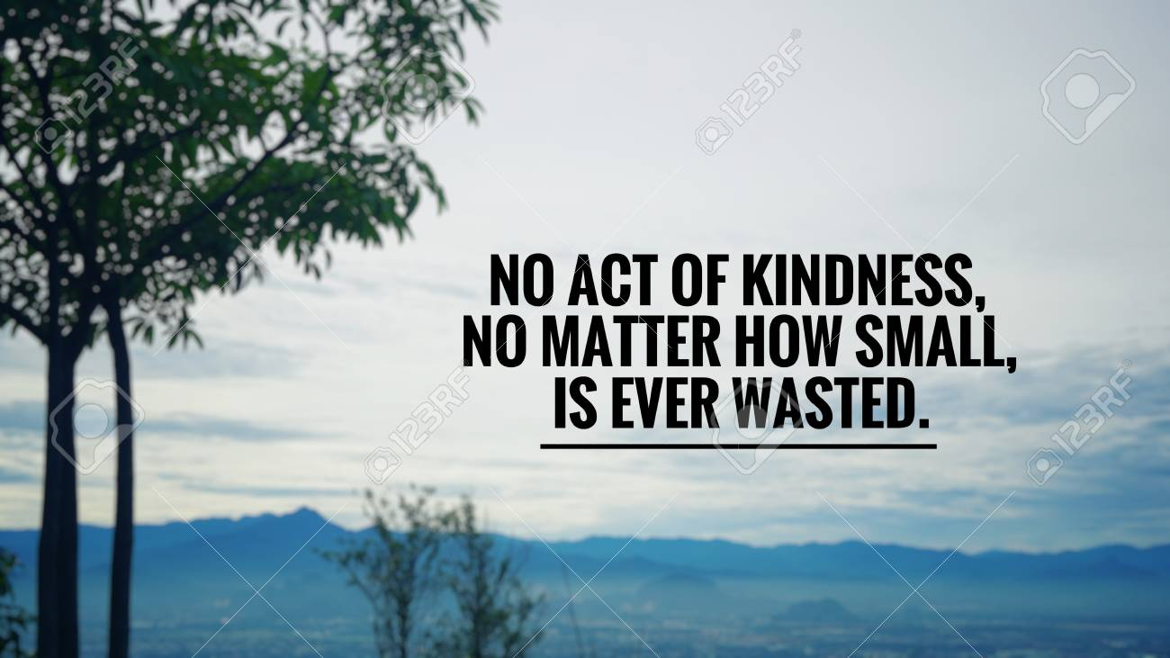 Motivational and inspirational quote - No act of kindness, no..