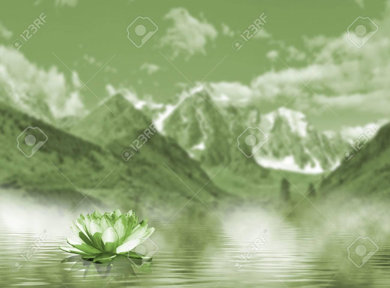 Imagen De La Flor De Loto En El Agua En El Fondo De Las Montañas