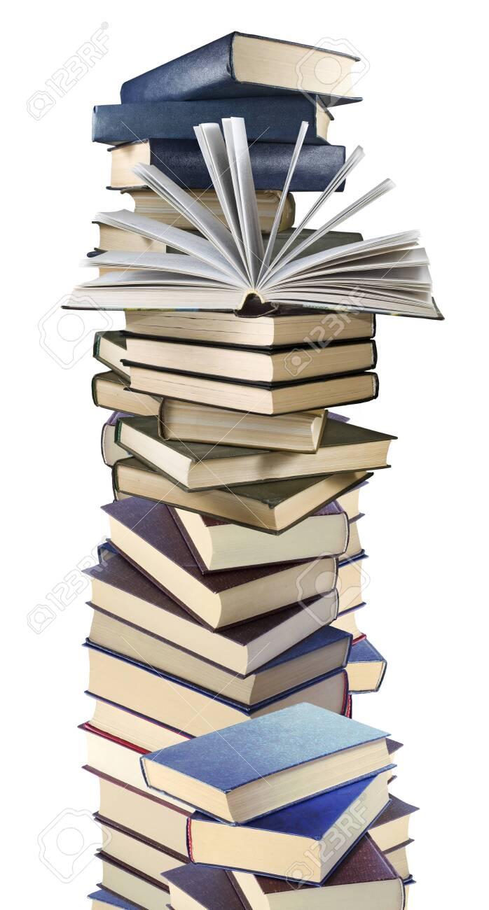 isolated image of many books on white background - 126207789