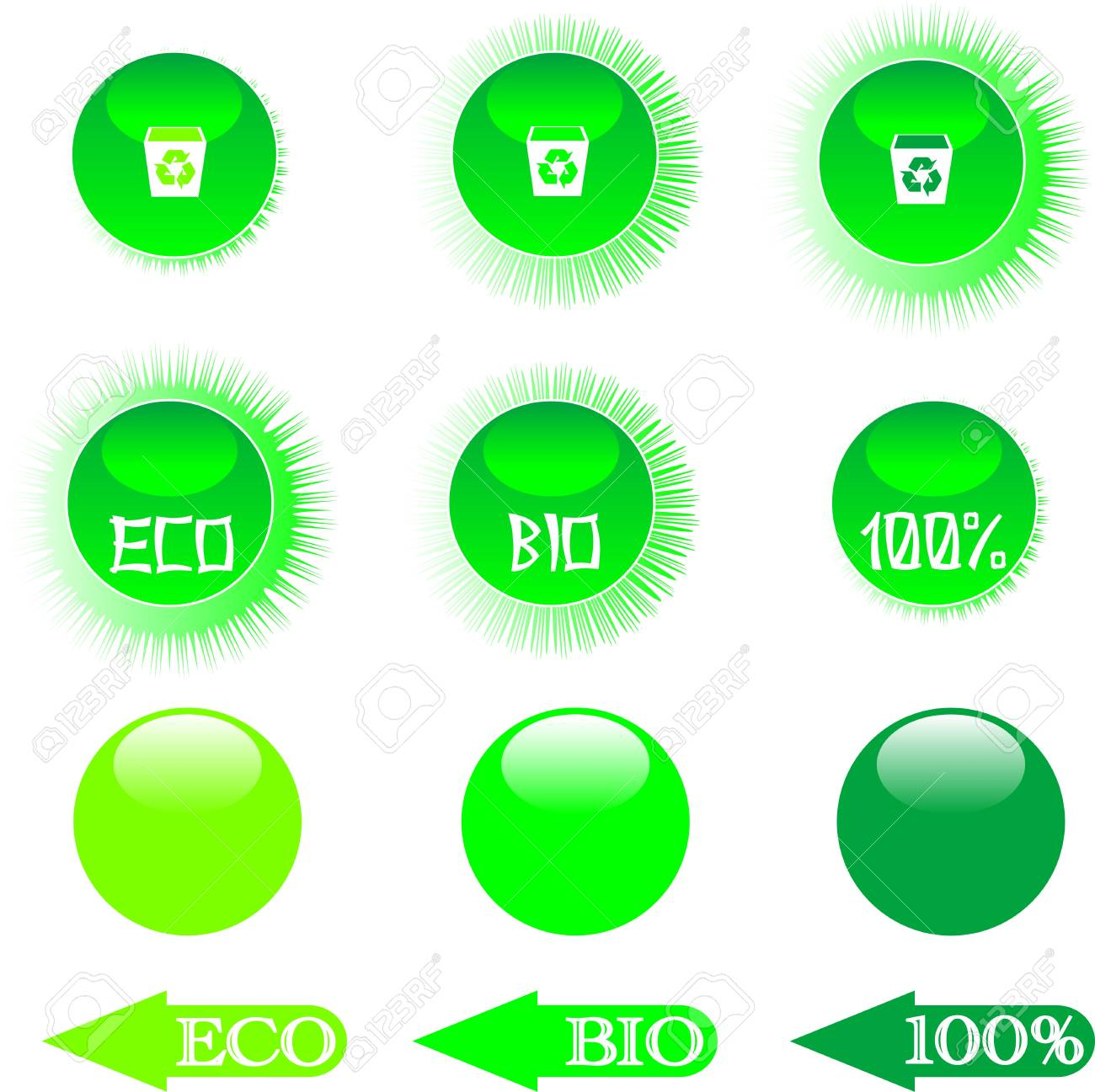 set eco green buttons Stock Vector - 9817475