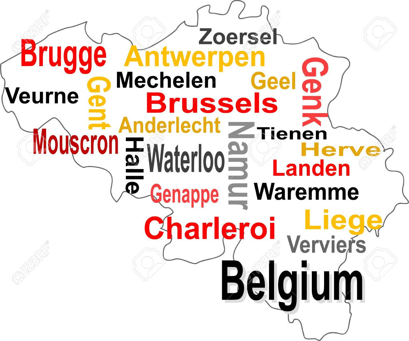 belgium map and words cloud with larger cities stock vector 10030447