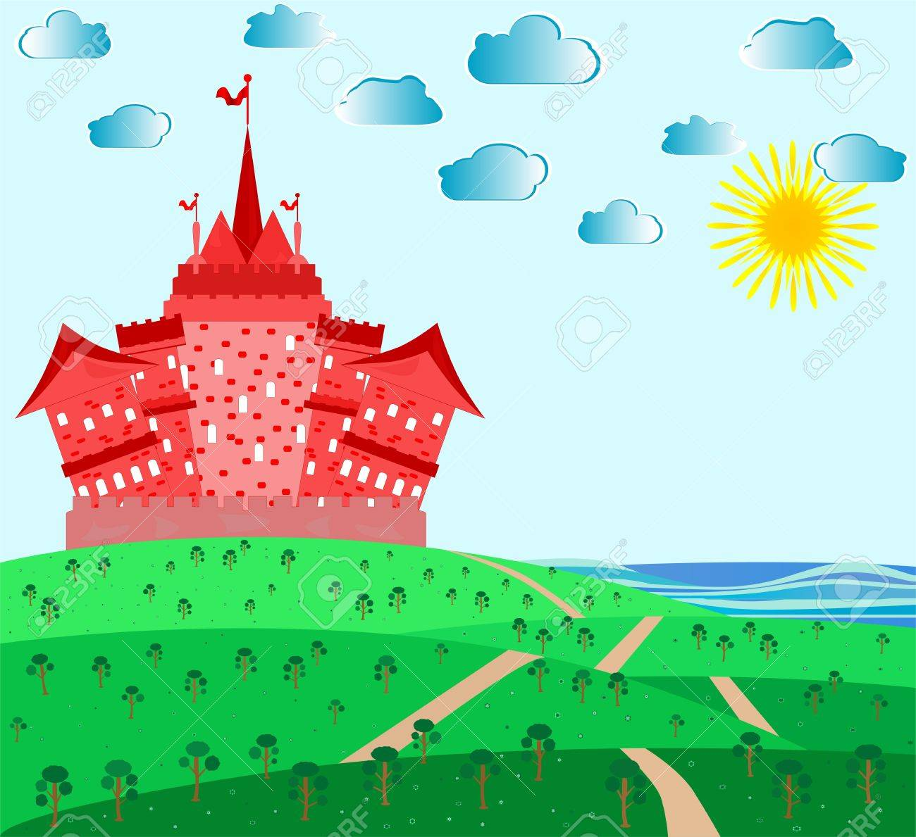 Fairytale landscape with red magic castle Stock Vector - 10030466