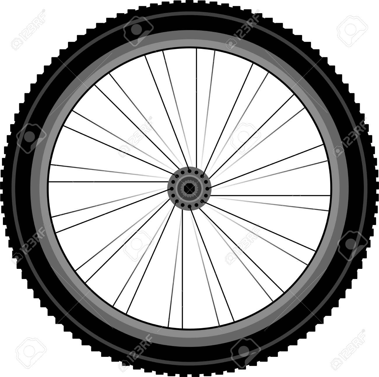 detailed Front wheel of a mountain bike Stock Vector - 10358837