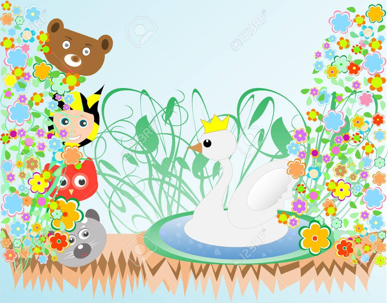 cute baby boy and animals viewing duck with crown background Stock Vector - 10437112