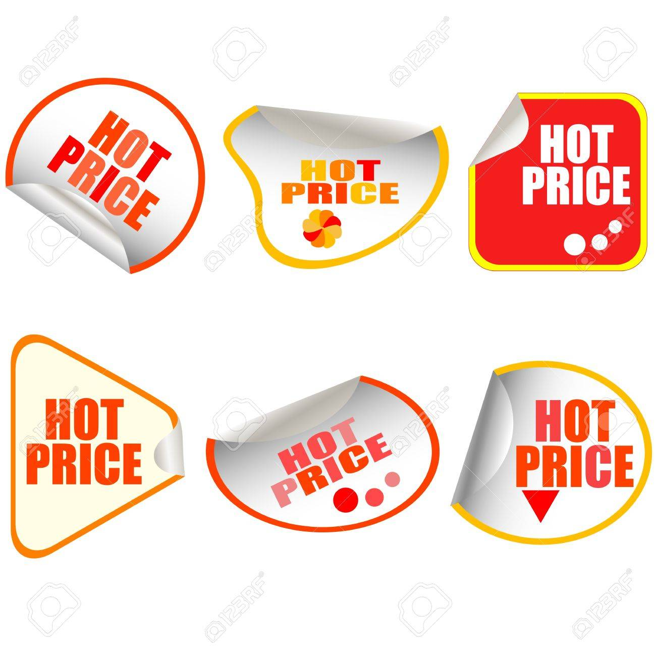 Hot Price Button stickers set card Stock Vector - 10958752