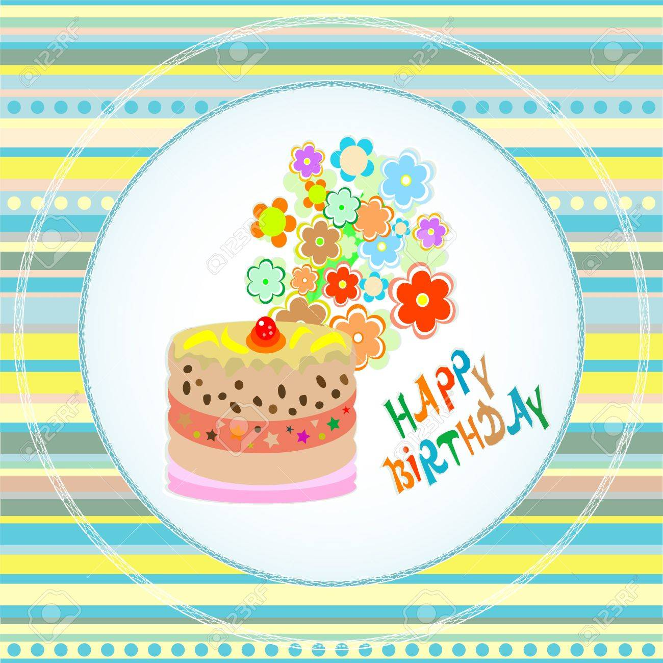 Happy birthday cakes flower design vector card royalty free happy birthday cakes flower design vector card stock vector 11535949 izmirmasajfo