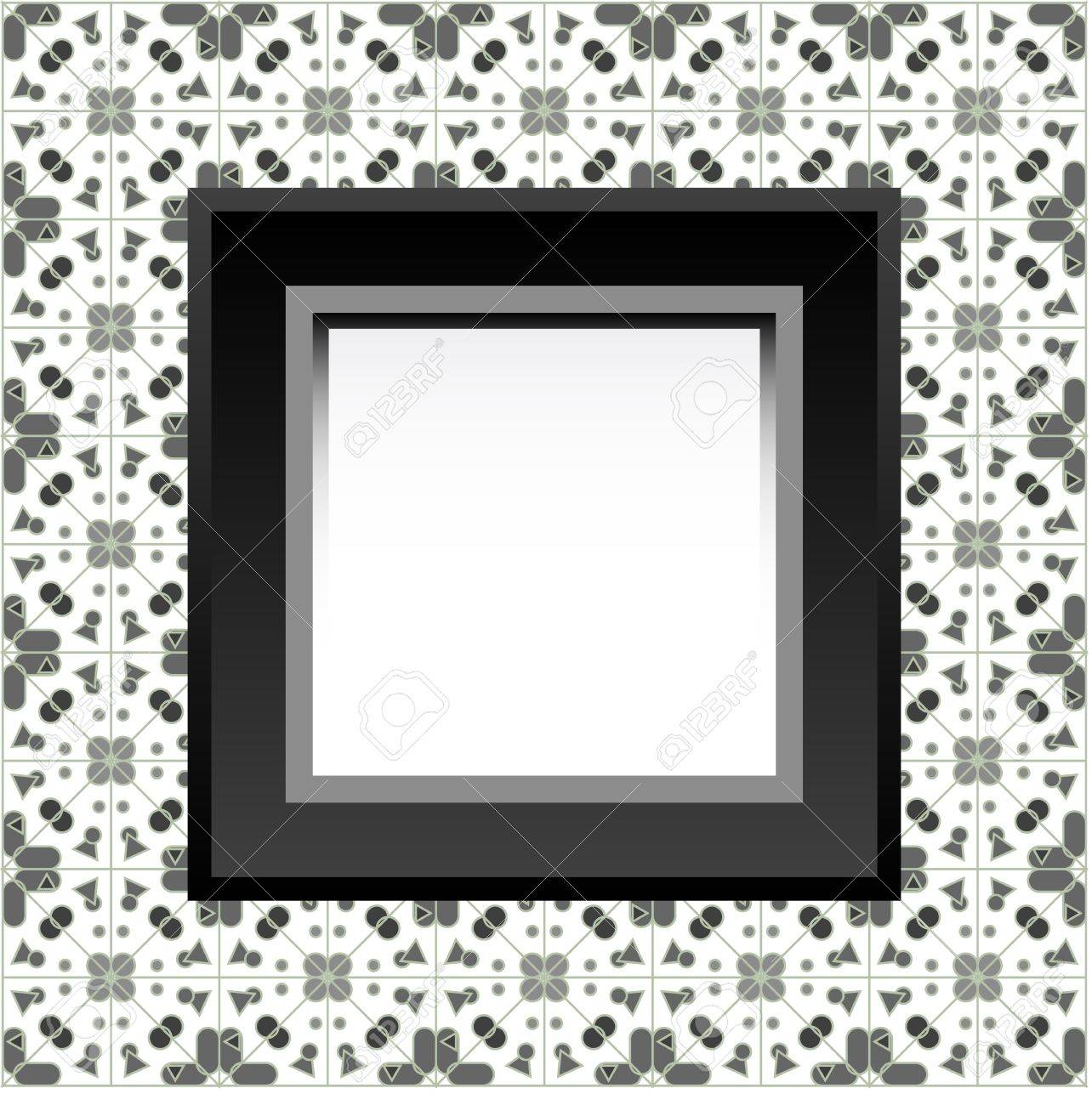 Frame with empty space on the floral wallpaper. Stock Vector - 11830471