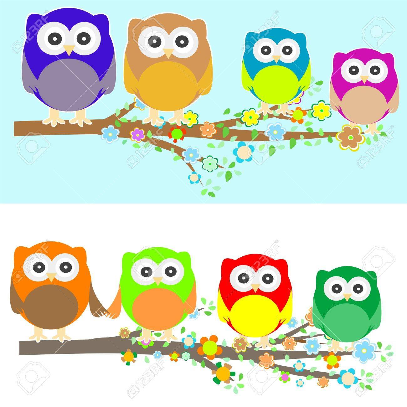 Family of owls sat on a tree branch at night and day Stock Vector - 12075218