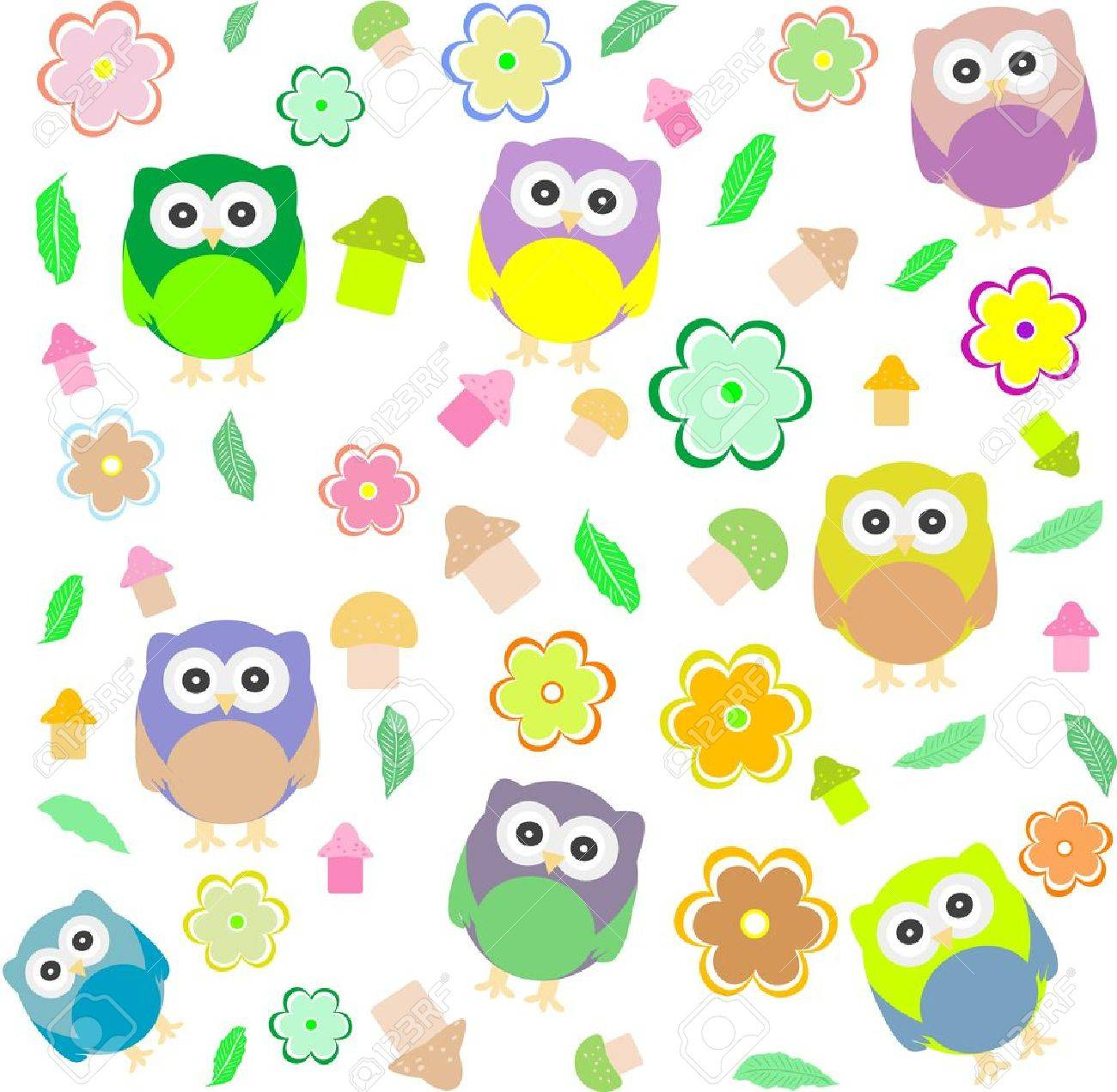 seamless background with spring elements - owls, mushrooms and flowers Stock Vector - 12221330