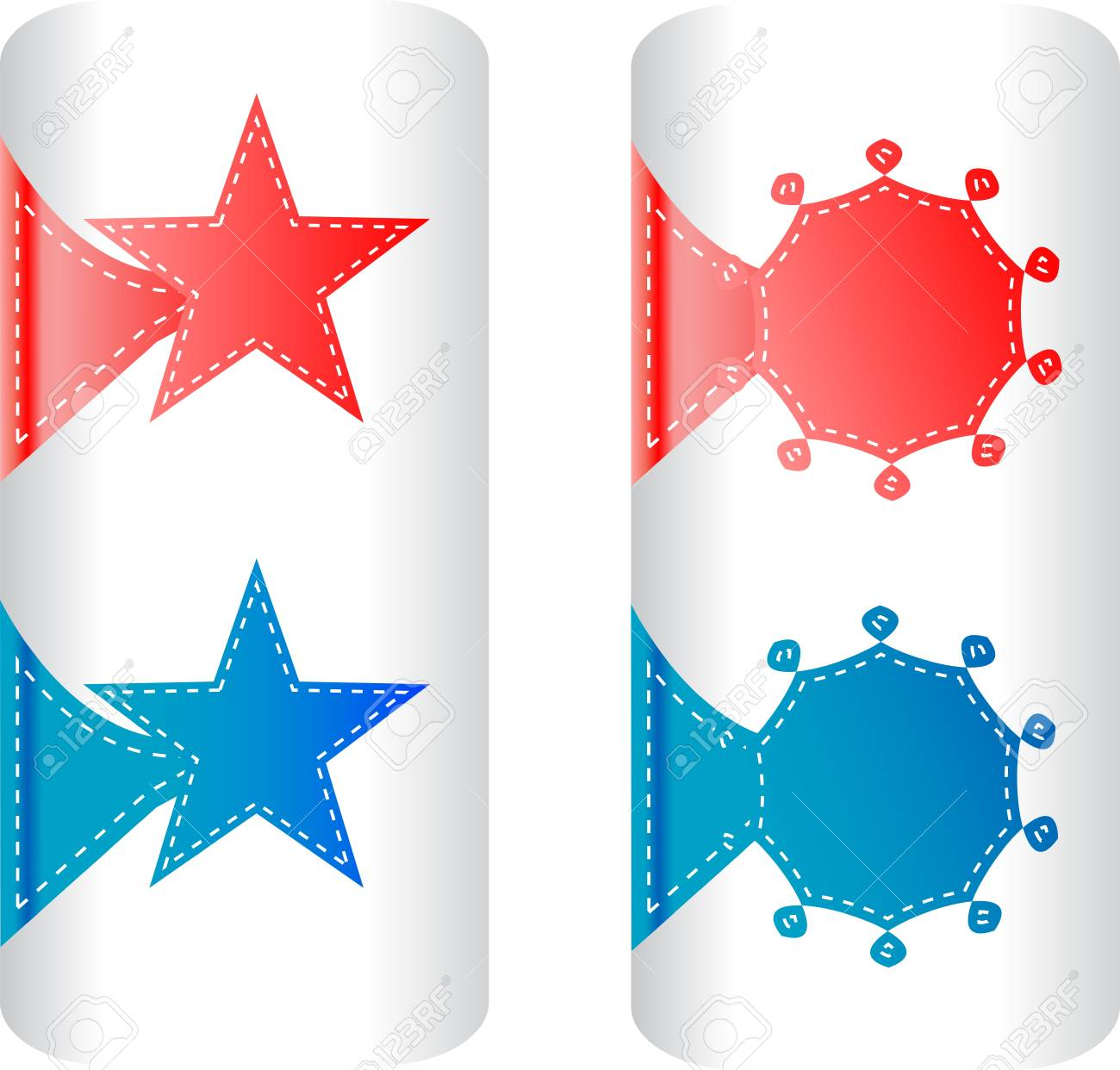 stylish colorful set of labels in the form of stars badges and stickers Stock Vector - 12267389