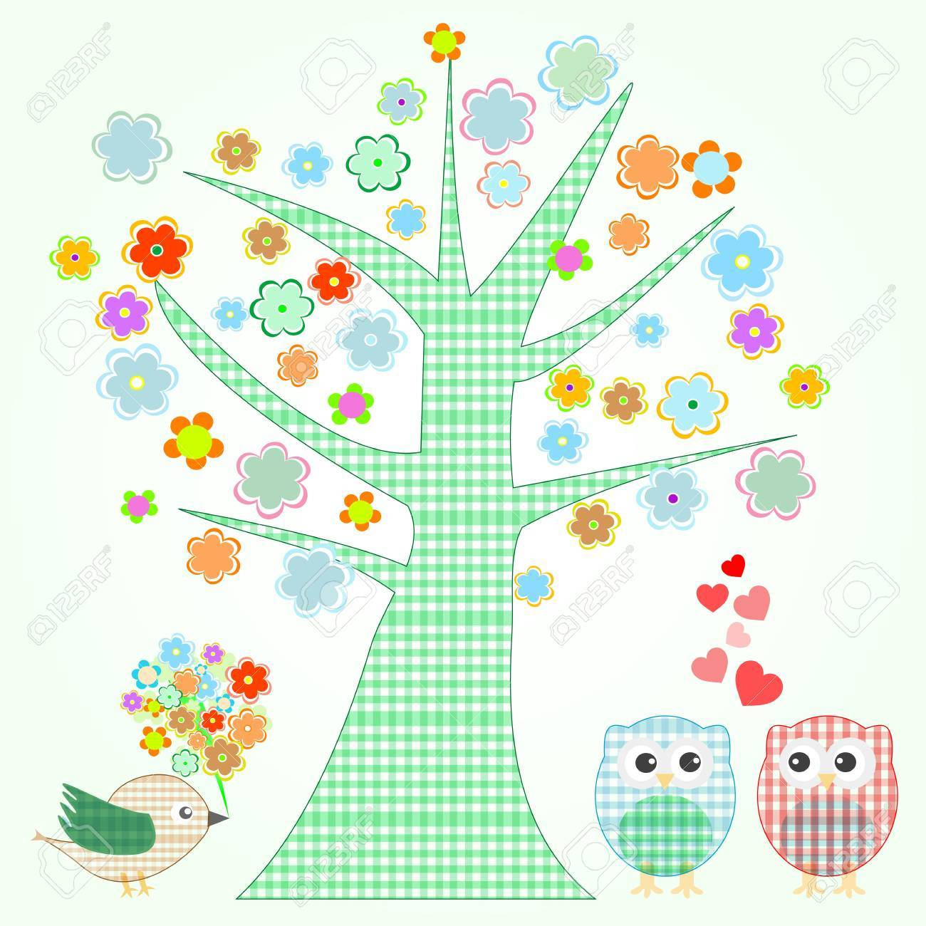 owl in love and bird with flowers textile stickers Stock Vector - 12224124