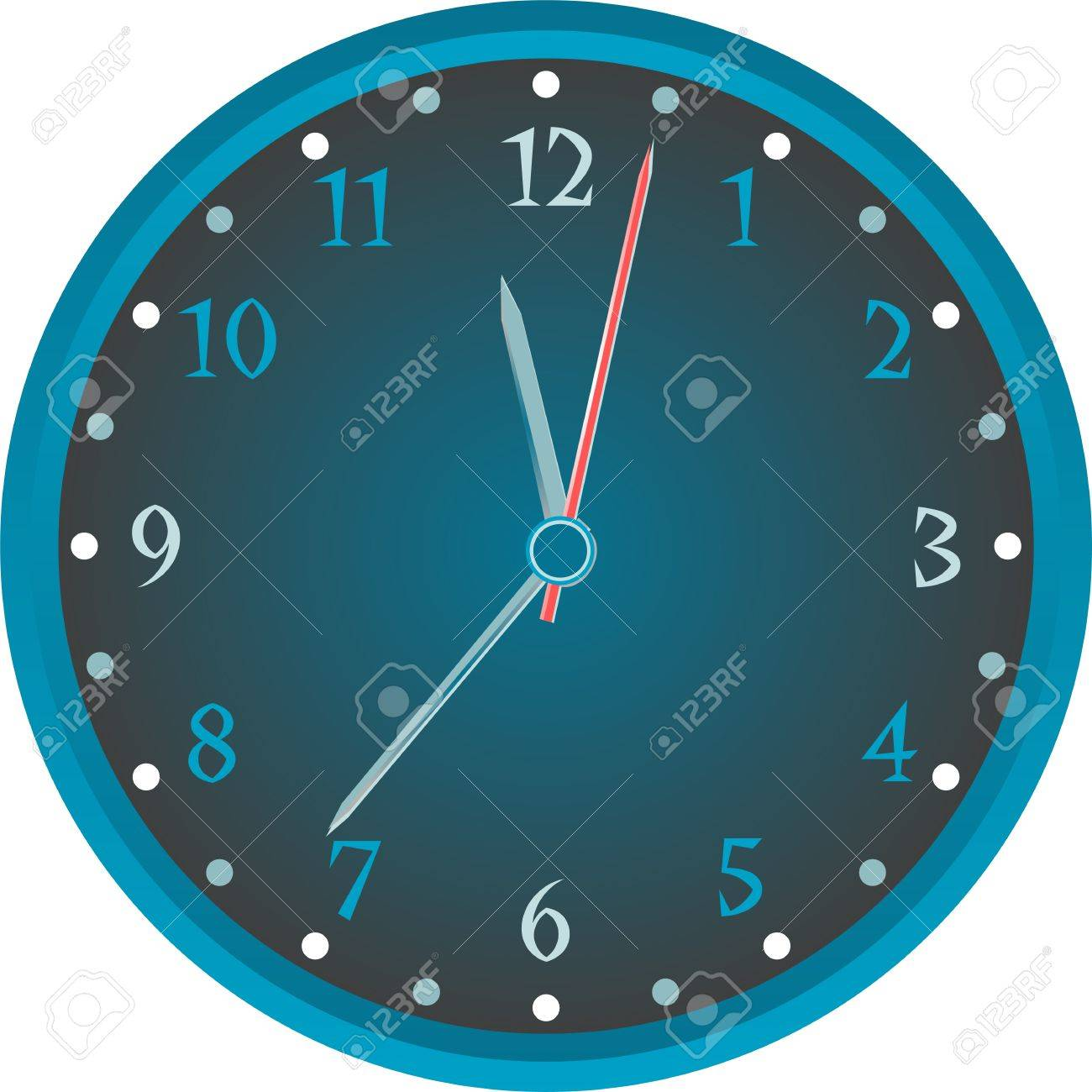 Vintage wall blue clock isolated on white background. vector Stock Vector - 12485342