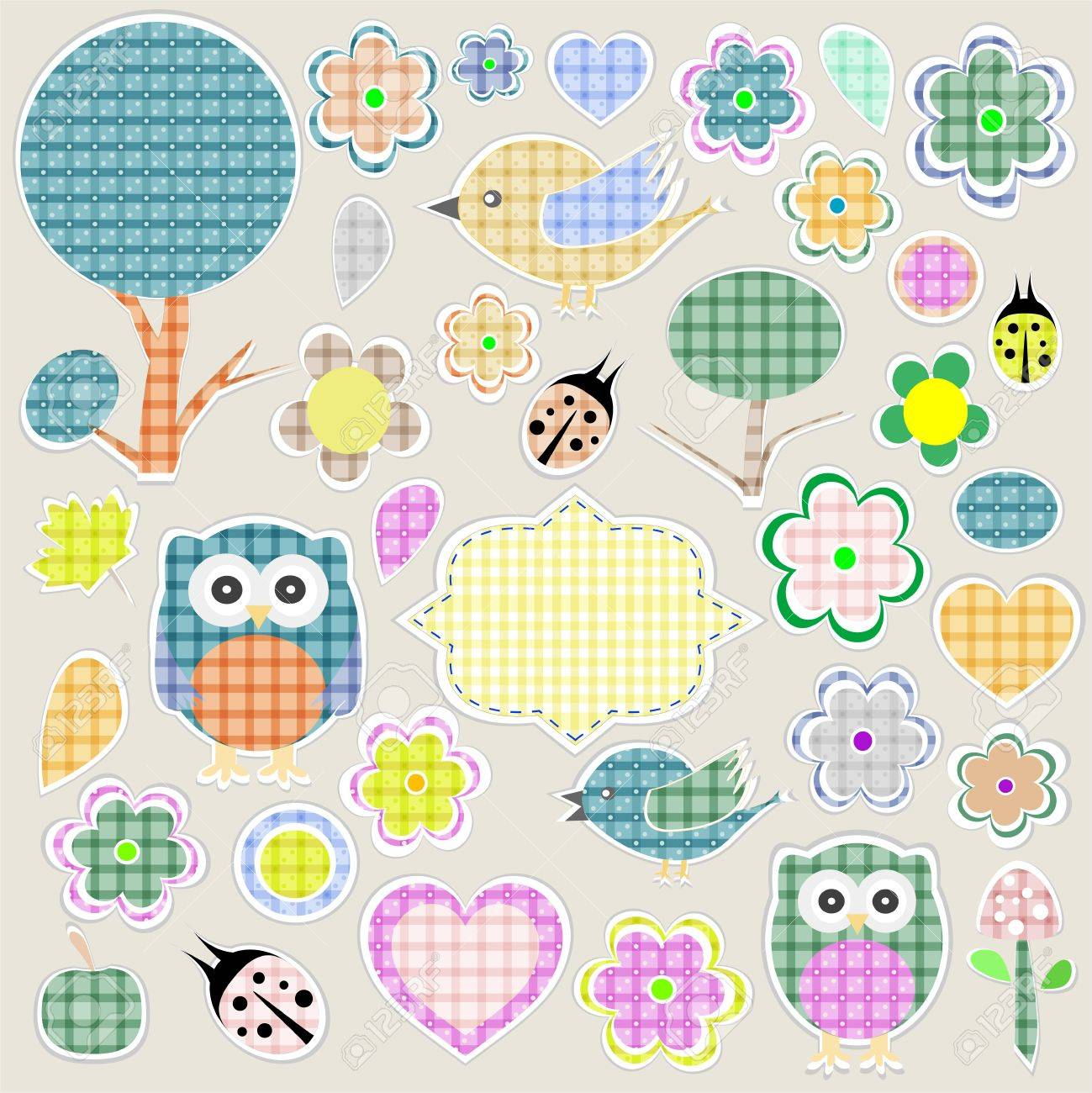 Nature textile stickers set  animals and flowers Stock Vector - 12485815