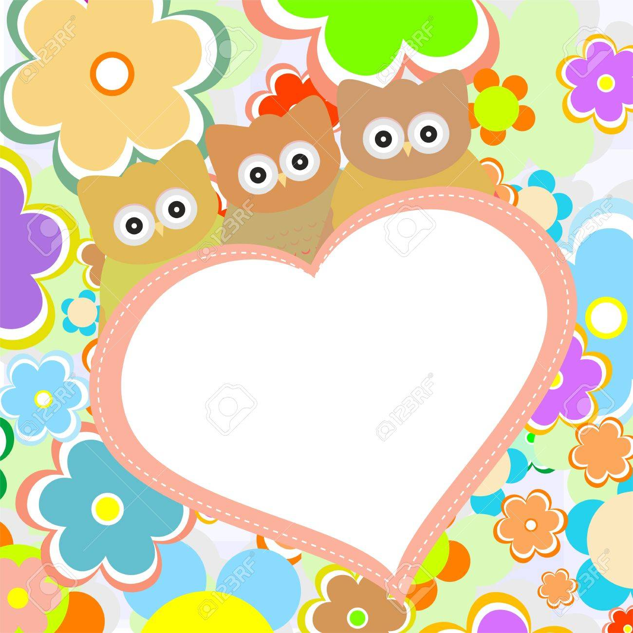 owls in flowers with big heart  vector greetings card Stock Vector - 12632772