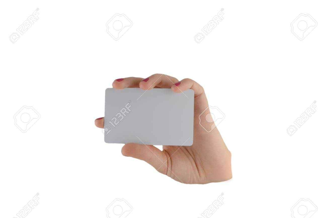 empty credit card female hand holding isolated on white Stock Photo - 12632828
