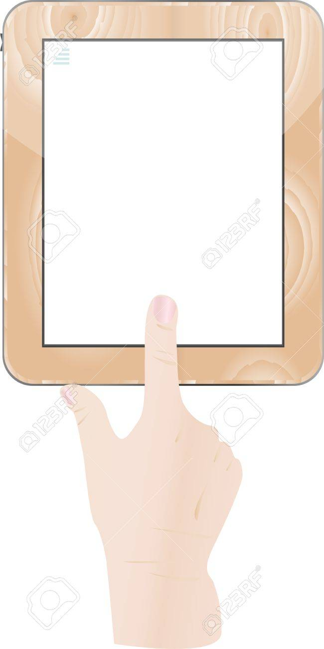 Hands holding and point on digital tablet Stock Vector - 13201560