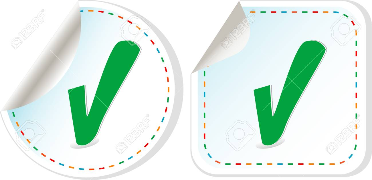 Abstract check box stickers with check mark Stock Vector - 13293179