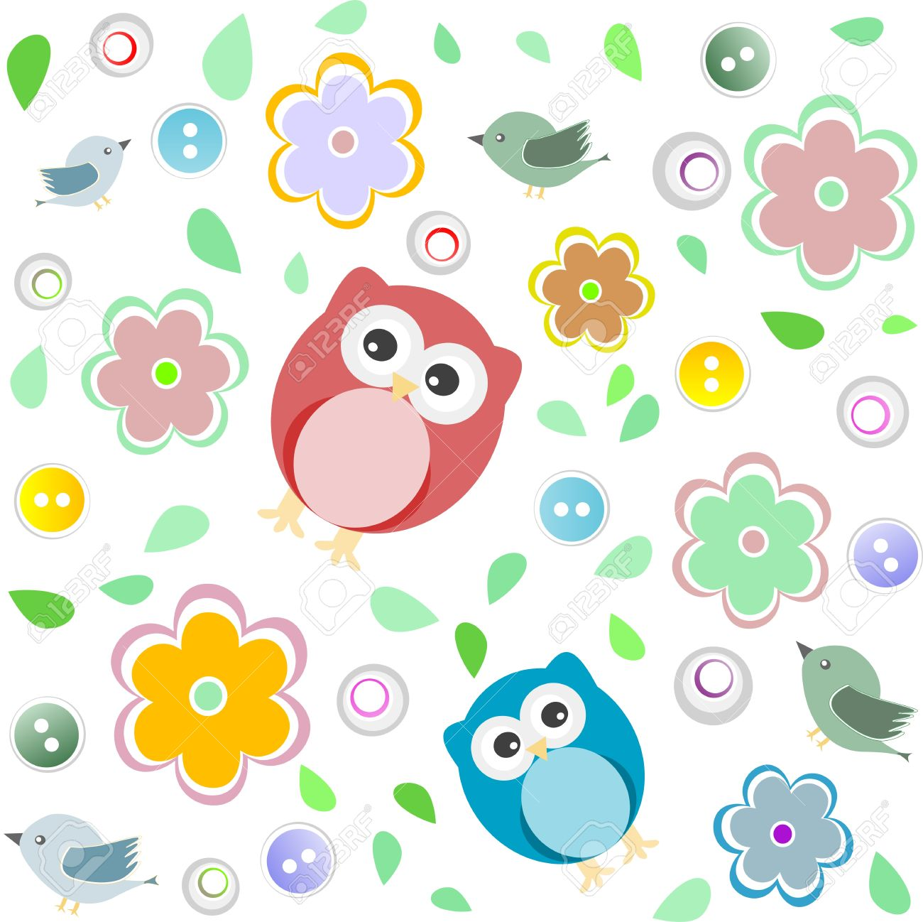 Seamless colourful owl pattern for kids background Stock Vector - 13293245