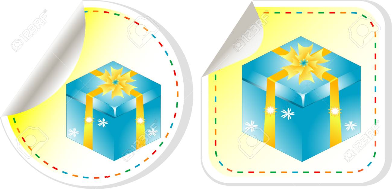 Blue gift box with a yellow bow sticker set Stock Vector - 13614901