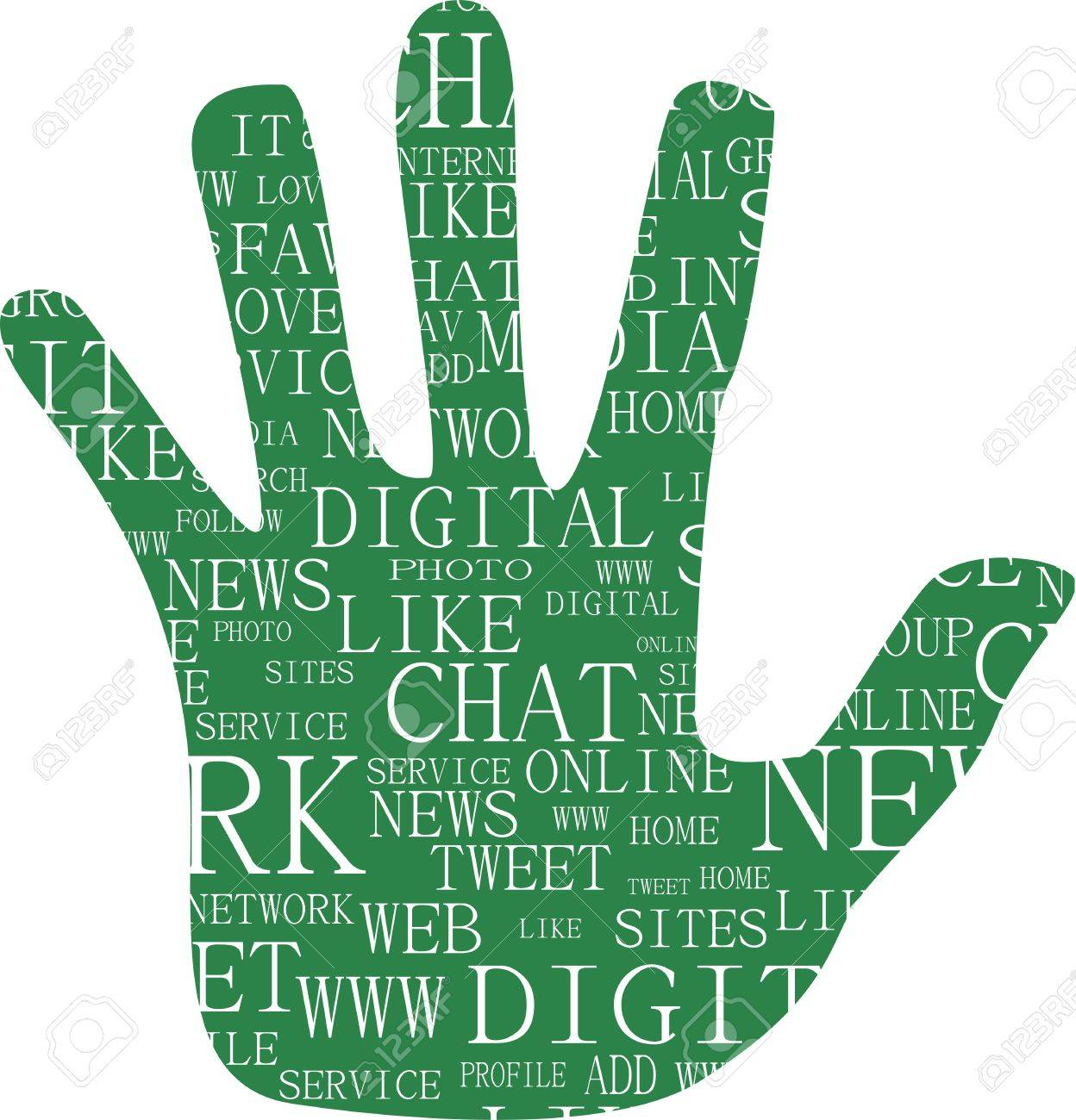 Illustration of hand, which is composed of text keywords on social media themes. Isolated on white. Stock Vector - 13818019
