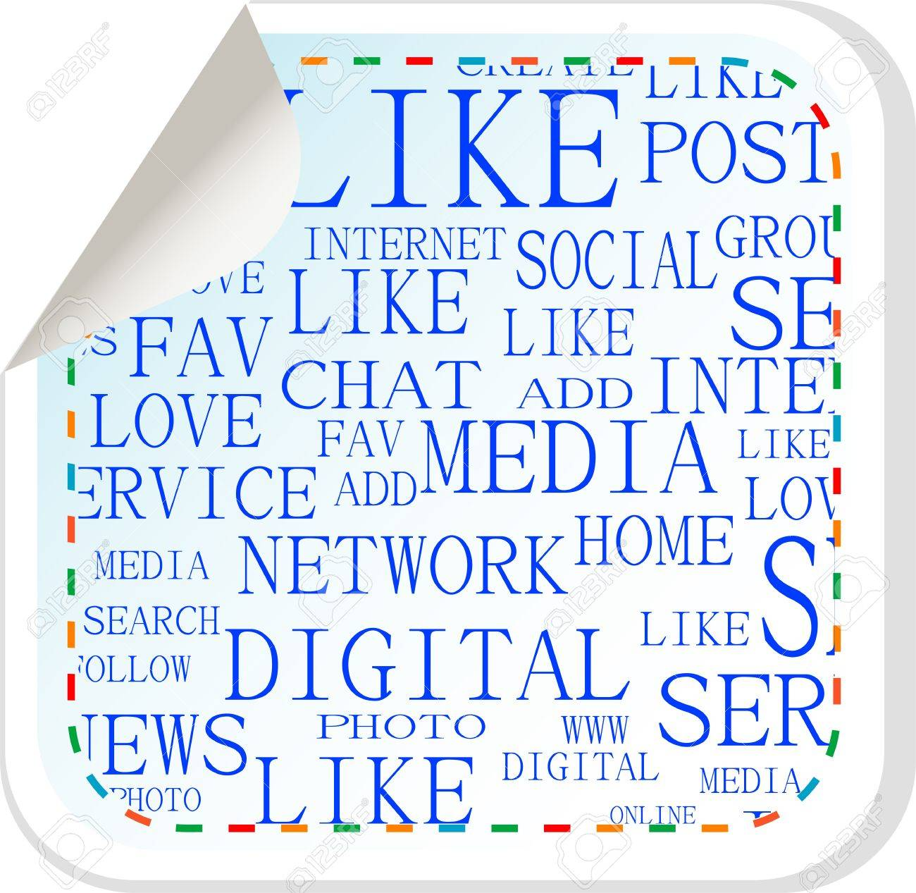 Social media button - vector label sticker Stock Vector - 13818022