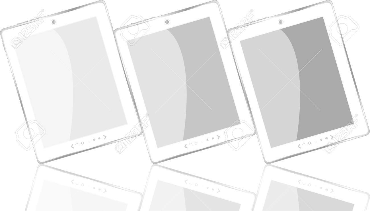 white tablet pc computer set with reflection Stock Vector - 13815110
