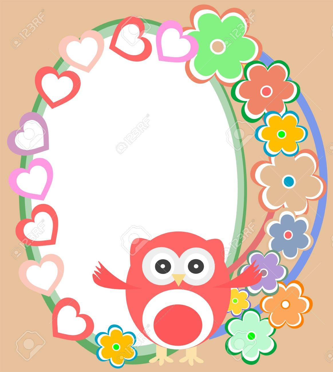 background with flowers and cute owl Stock Vector - 13825526