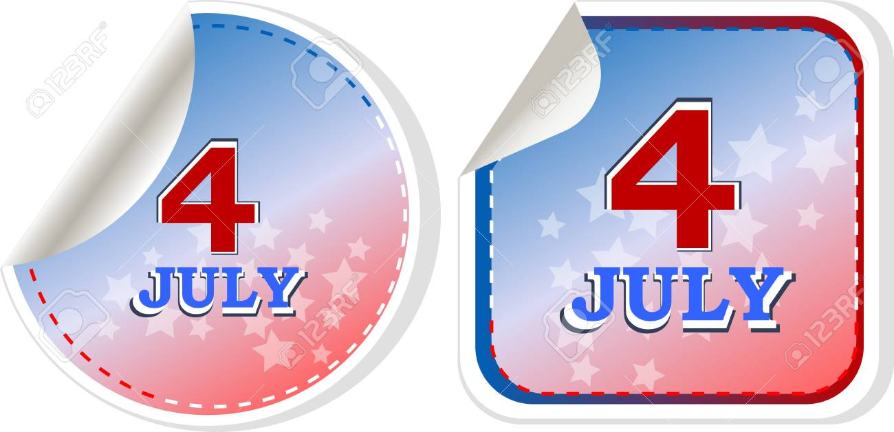 independence day badge on patriotic background - Stock Vector - 13825538
