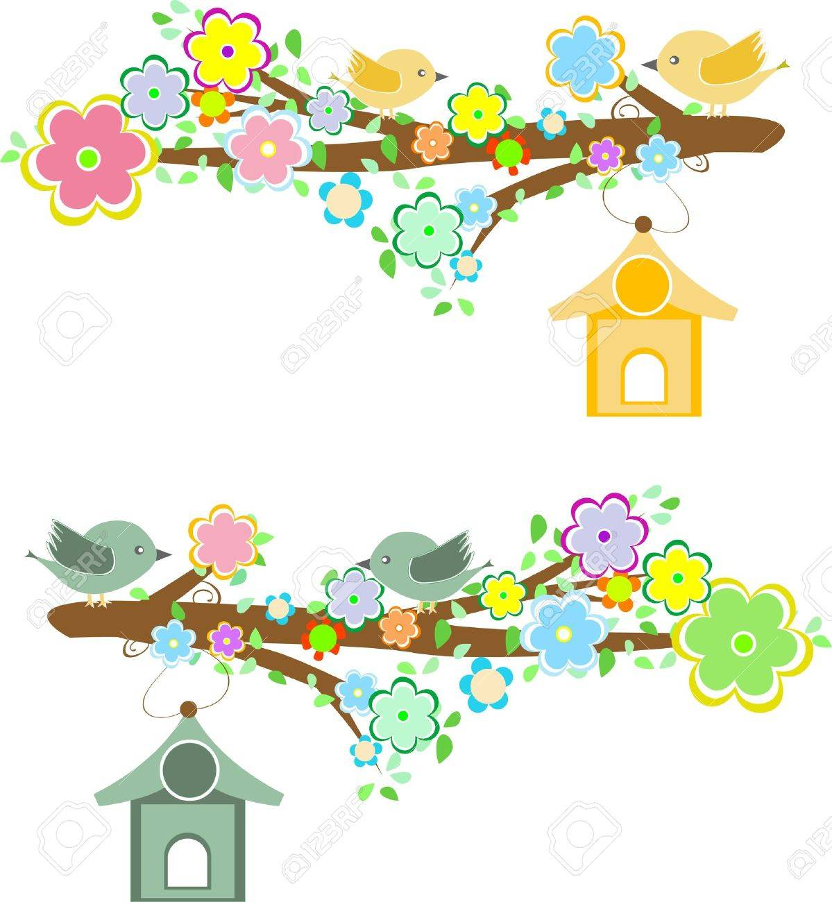 Family of birds sitting on a branch with birdhouses. vector Stock Vector - 13933082
