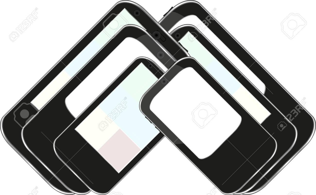 vector smart phone set isolated on white Stock Vector - 13933108