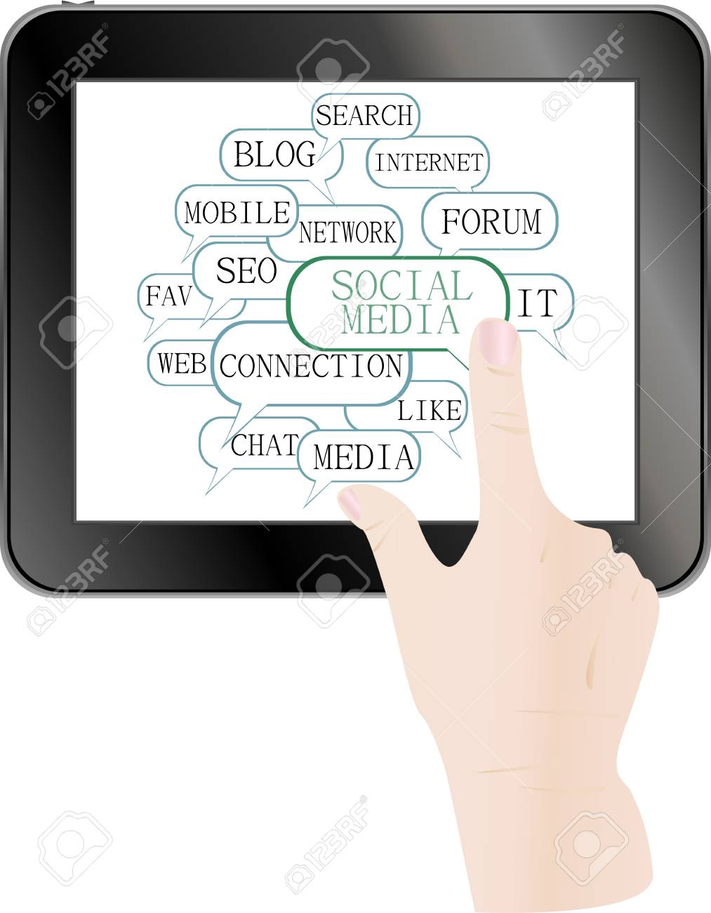 text keywords on social media themes. hands touch screen digital tablet pc Stock Vector - 14211186