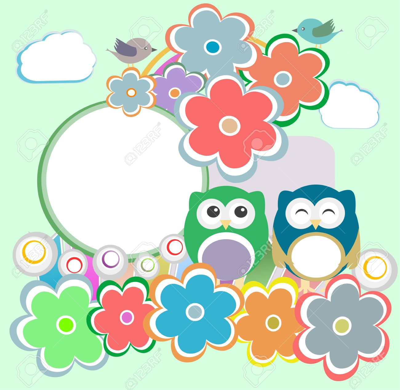Background with owl, flowers and birds - happy birthday Stock Vector - 14433839