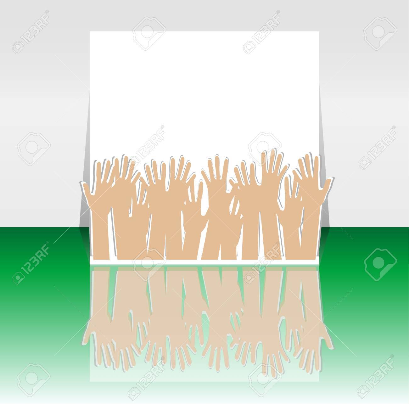 Flyer or Cover Design with many hands - Party Time Stock Vector - 14434018