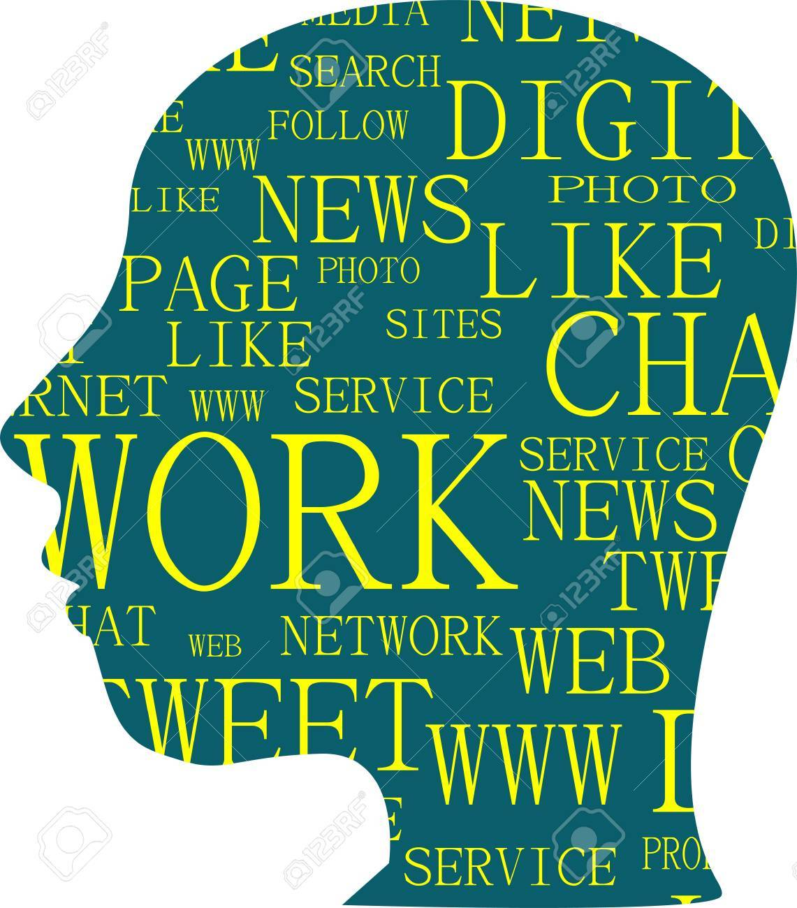 silhouette of head with the words on the topic of social networking Stock Vector - 14551993
