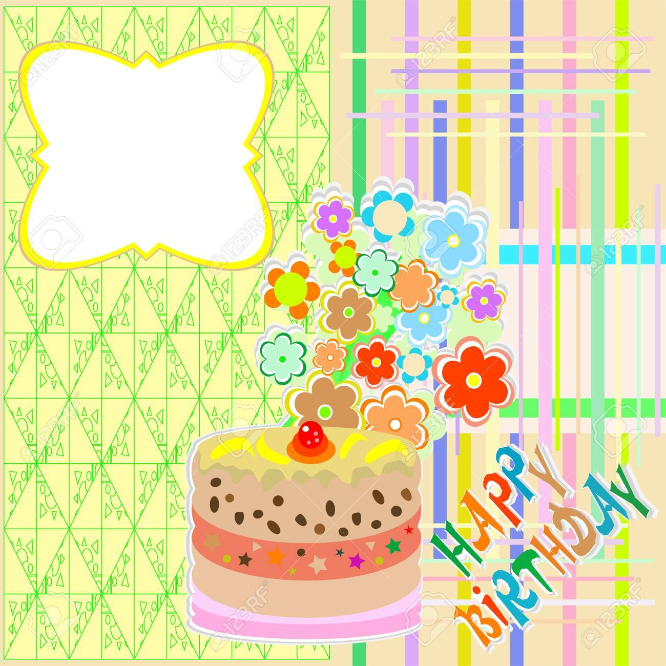 Happy birthday greeting card with flower and cupcake vector royalty happy birthday greeting card with flower and cupcake vector stok fotoraf 15490014 m4hsunfo