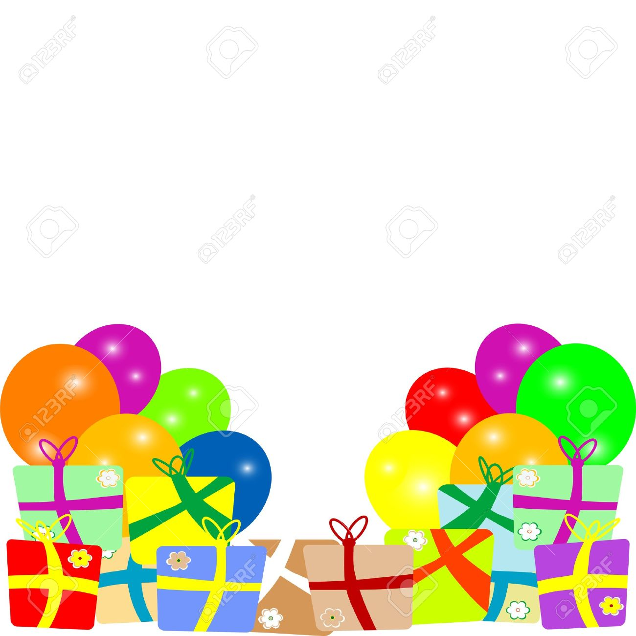 Card to birthday with balloons and gifts  vector Stock Vector - 15490022