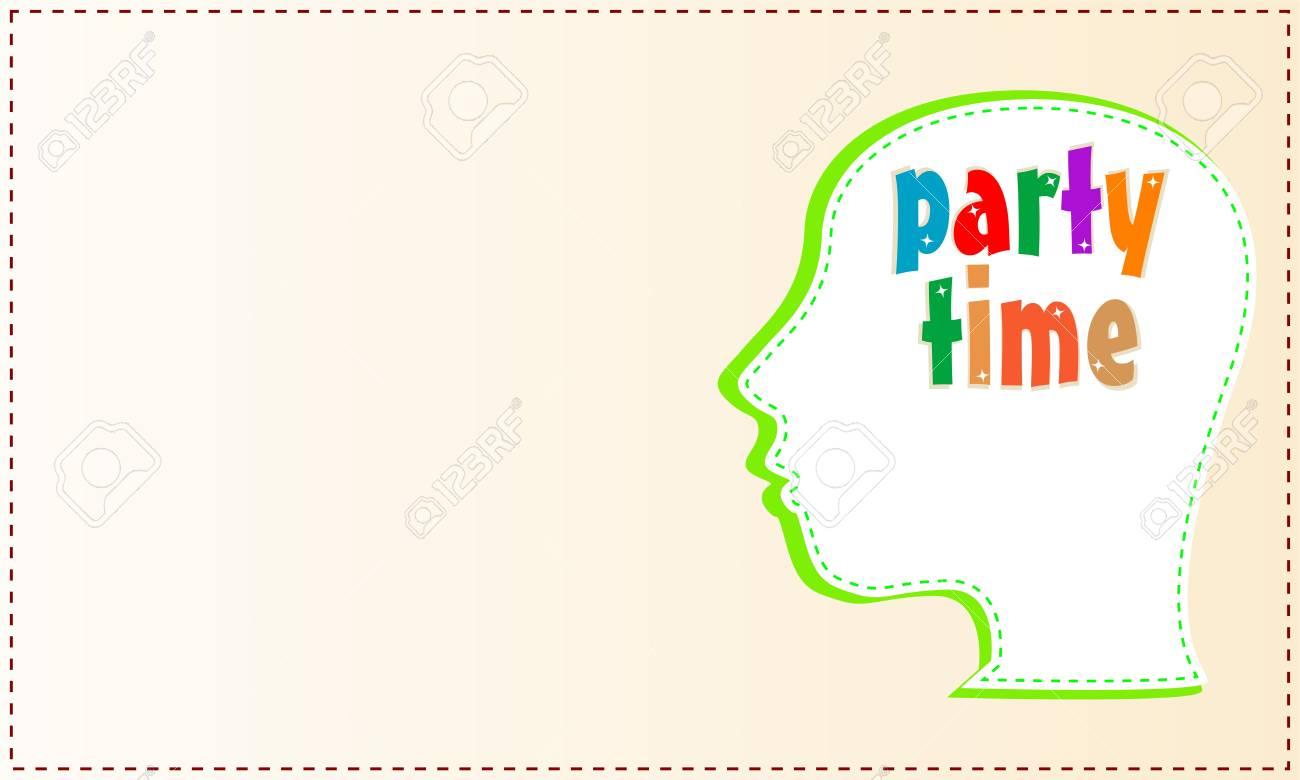 head with symbol Party Time concept card - 15490016