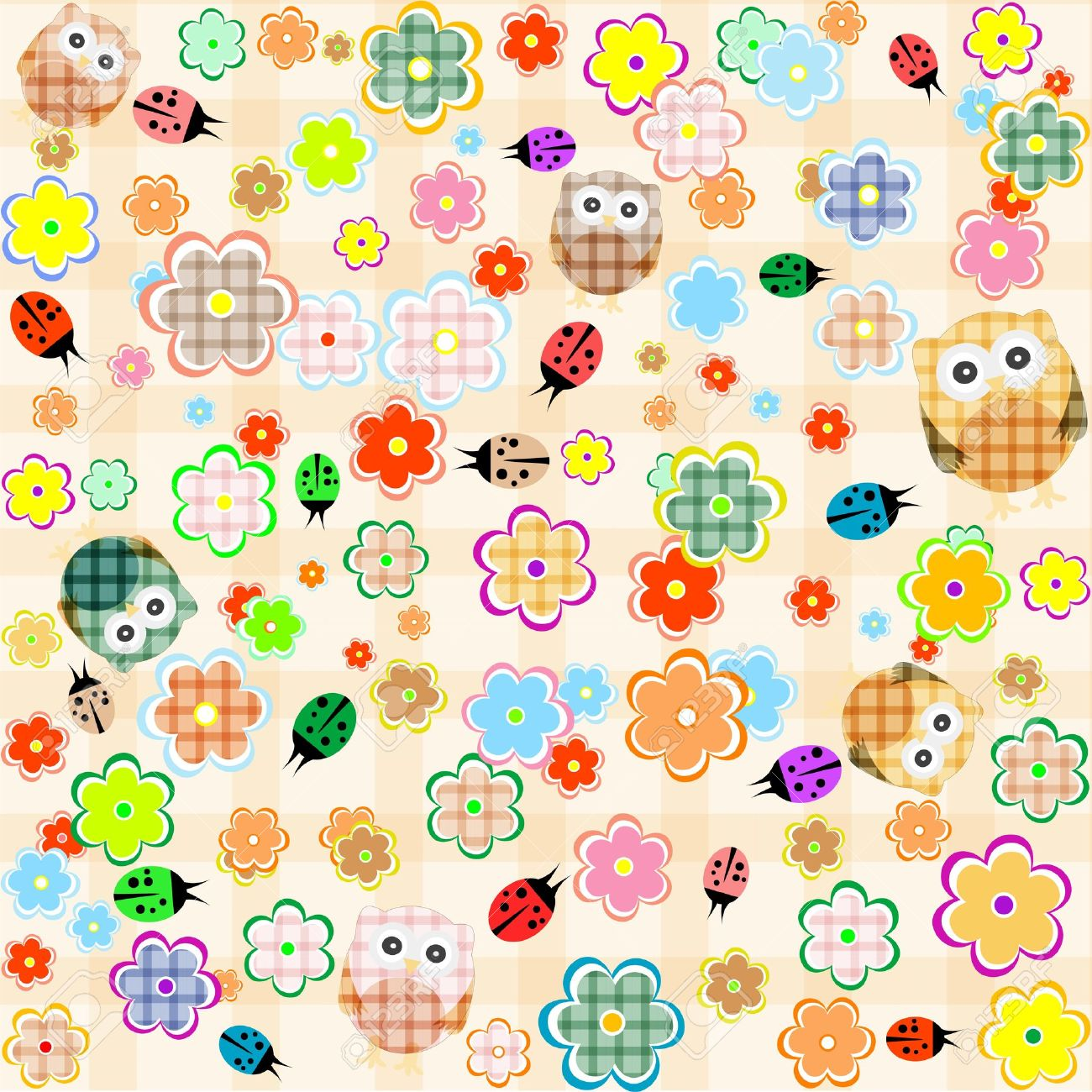 Cute seamless flower owl background pattern. vector Stock Vector - 15489999