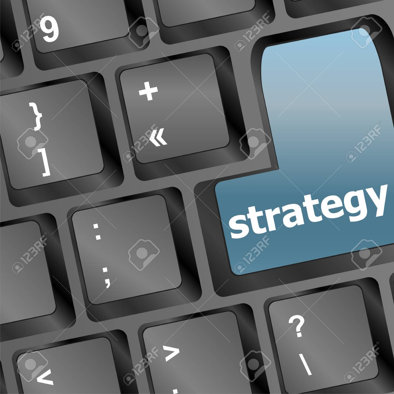 Strategy Text With Thumbs Up Symbol On Keyboard Royalty Free