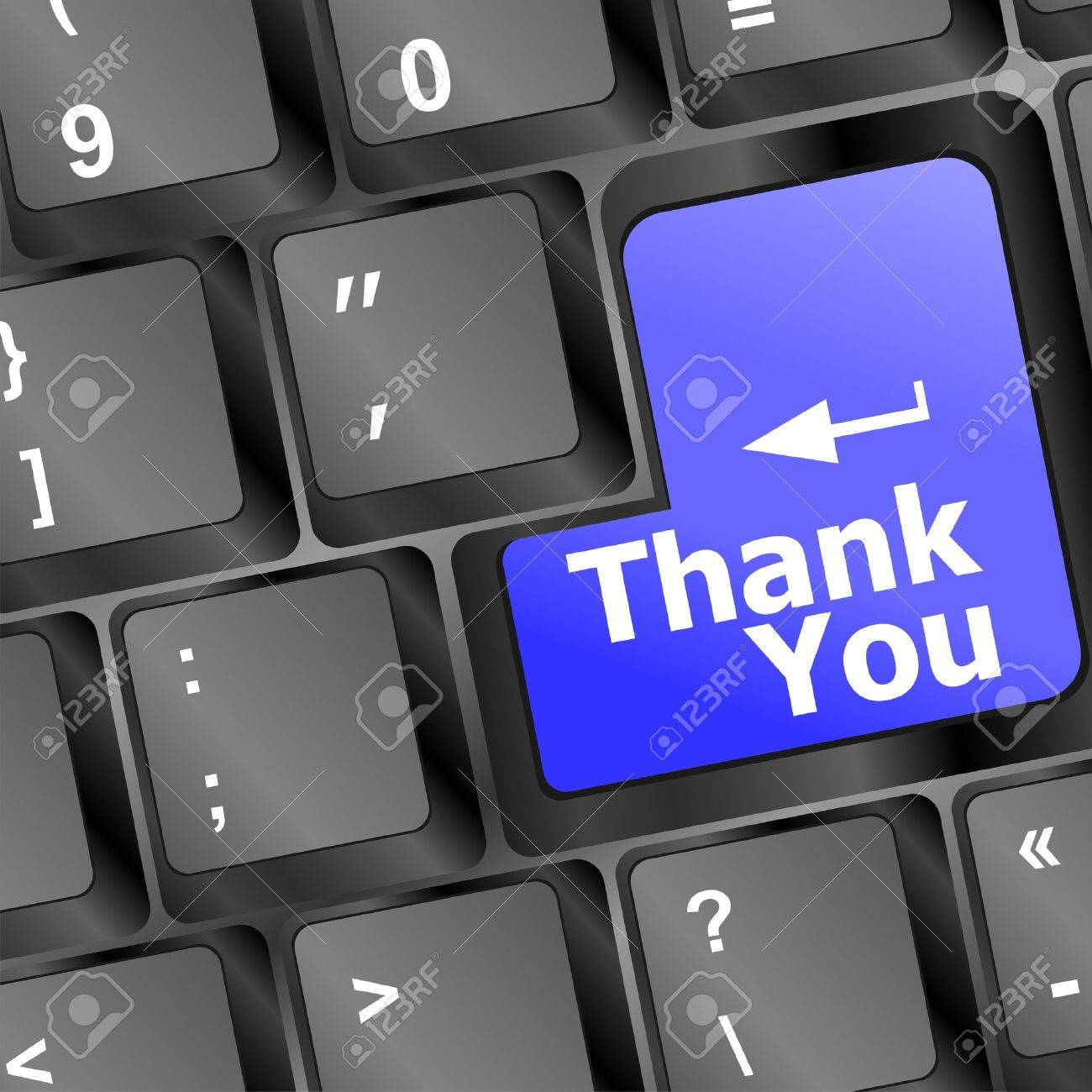 Computer keyboard with Thank You key, business concept Stock Vector - 15463276
