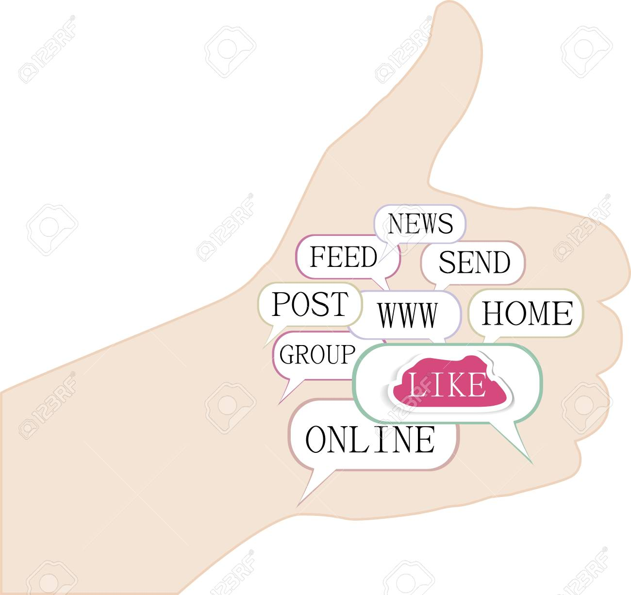 Thumb up like hand symbol with tag cloud of word Stock Vector - 15463298
