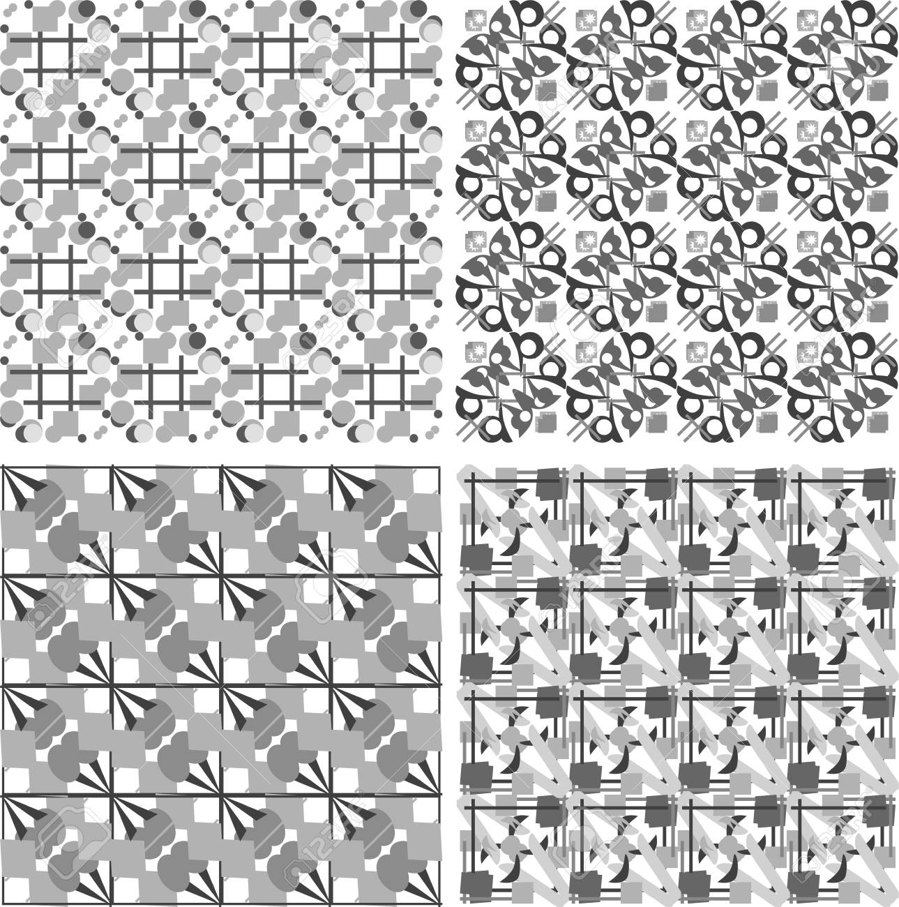 Conjunto De Patrones En Blanco Y Negro Sin Soldadura Geométricas ...