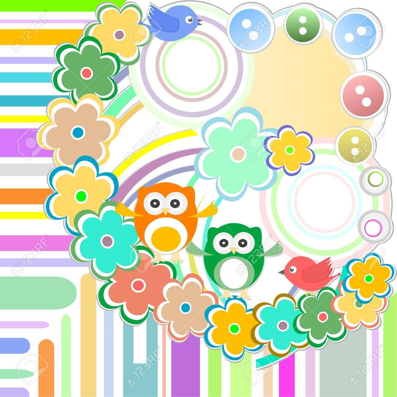 Cute bird and owl in abstract garden Stock Vector - 15803733