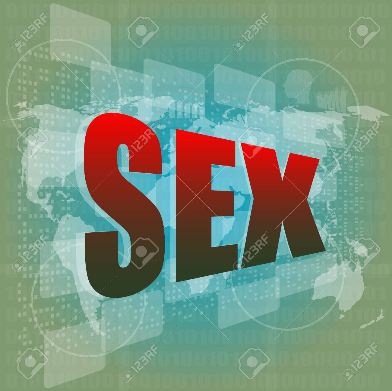 sex word on digital screen with world map - social concept Stock Photo - 16352278