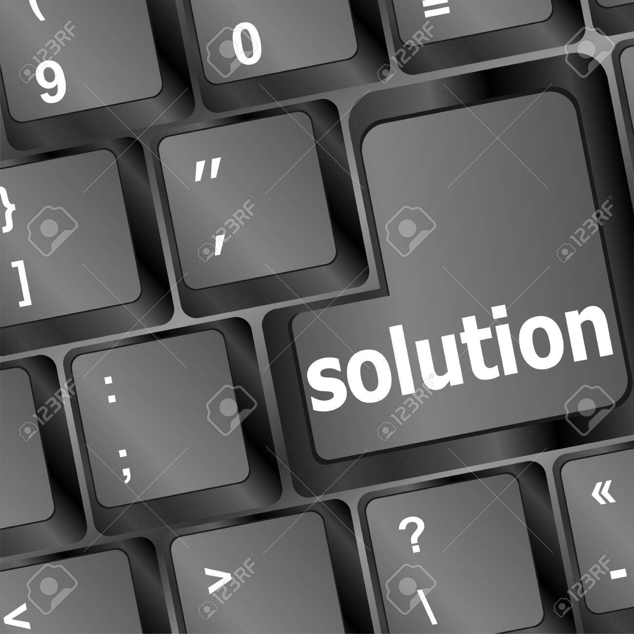 solution word on black keyboard button Stock Photo - 16468782