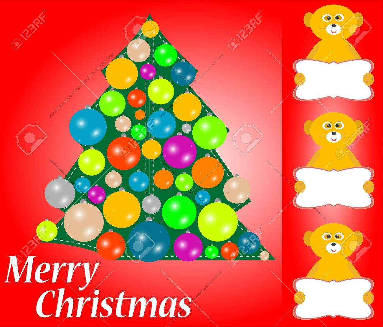 christmas tree with balls and lemur with blank card new year invitation stock photo